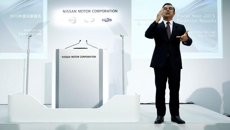 Carlos Ghosn, CEO van de Renault-Nissan-alliantie, gisteren bij een persconferentie in Japan. Beeld REUTERS