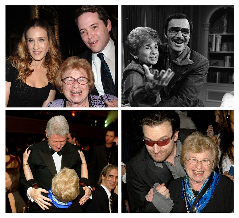 Ruth Westheimer op de foto met met Sara Jessica Parker (linksboven), Matthew Broderick (rechtsboven), Bill Clinton (linksonder) en Bono Vox (rechtsonder). Beeld Wire Image en Getty
