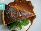 Pindataartjes met karamelsaus en vanille-ricottacrème