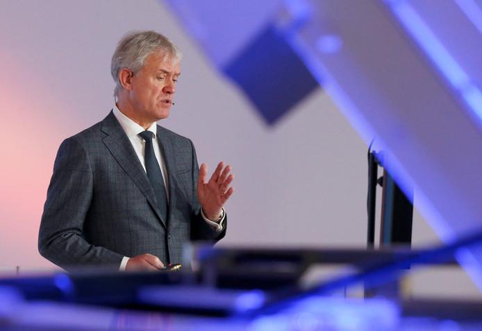 Topman Peter Wennink van ASML tijdens de presentatie van de jaarcijfers.