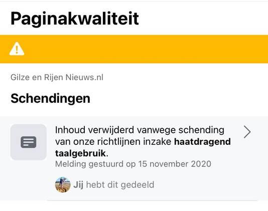 Blokkade die Facebook plaatste op de pagina van burgemeester Derk Alssema van Gilze en Rijen.