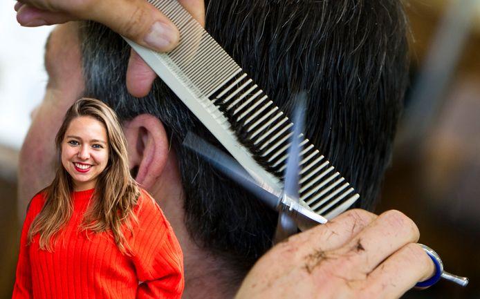 Een kapper aan het werk. Inzet: Lisanne van Sadelhoff