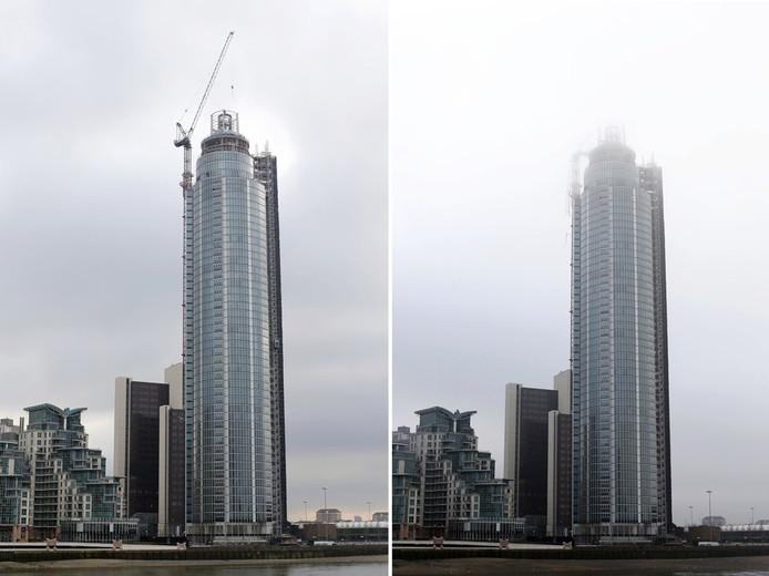 La tour avant et après le crash de l'hélicoptère