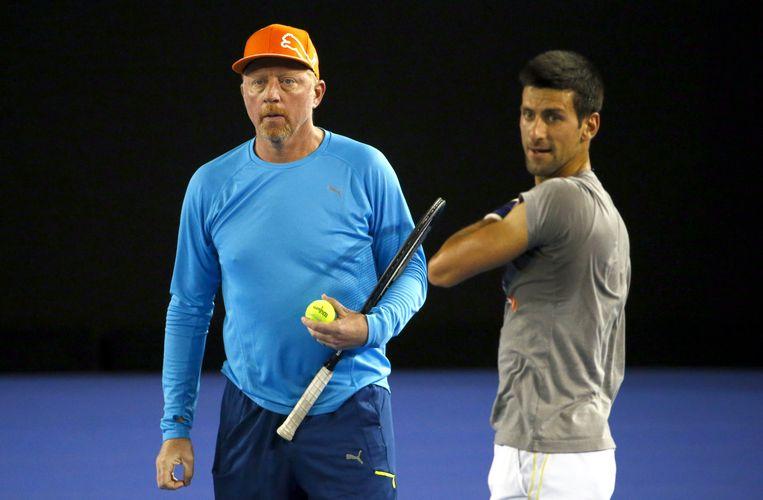 Boris Becker (L) en Novak Djokovic. Beeld reuters