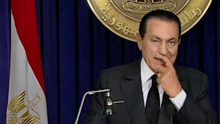 Hosni Mubarak, vlak voor zijn speech. Beeld ap