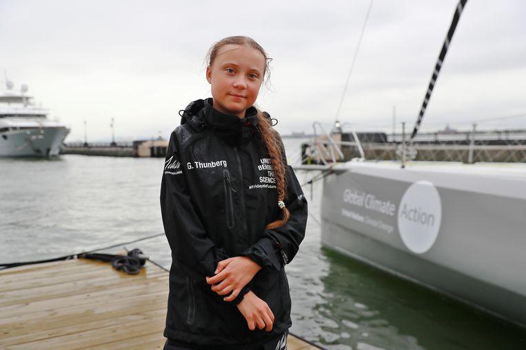 Greta Thunberg bij aankomst in New York.