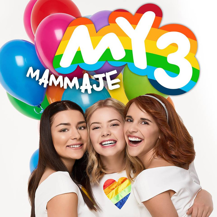 Natka (blond haar), Julka (zwart haar) en Gefi (rood haar) van de Poolse meidengroep My3