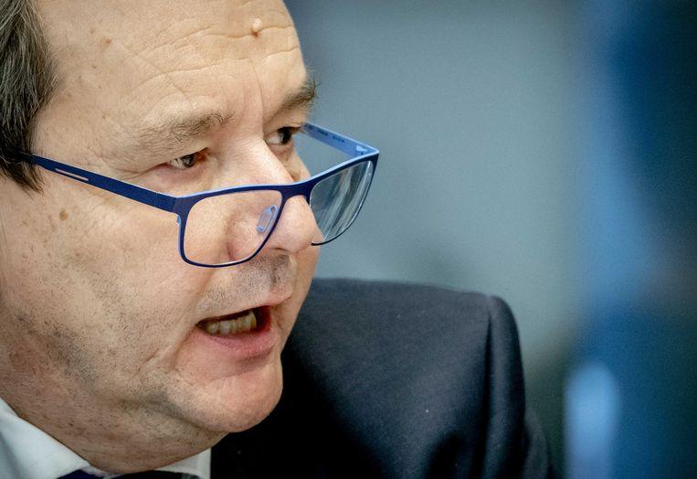 Staatssecretaris Hans Vijlbrief (Financiën) tijdens een algemeen overleg in de Tweede Kamer over de Belastingdienst.  Beeld ANP