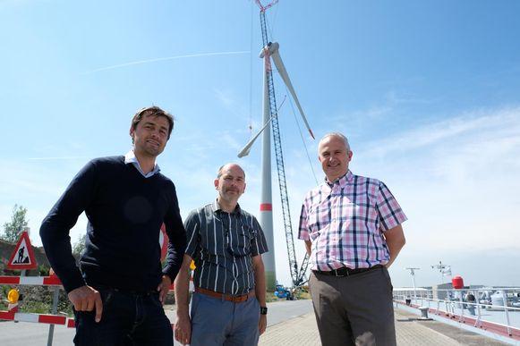 Christian Block (ingenieur en project manager bij Vleemo), Jan Winters (strategisch manager bij Vleemo) en CEO Giovanni Vercammen van Wind aan de Stroom.