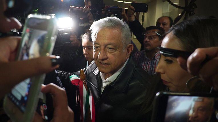 De Mexicaanse president Andrés Manuel López Obrador vrijdag terwijl hij de pers te woord staat. Beeld EPA