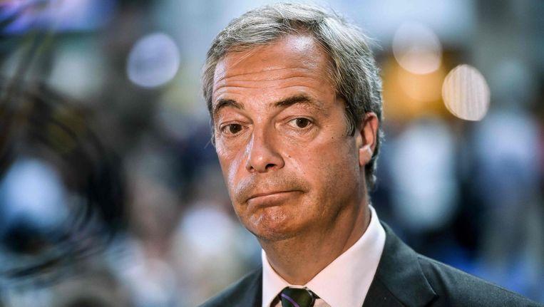 Nigel Farage stapt op als leider van de eurosceptische Britse partij UKIP. Beeld afp