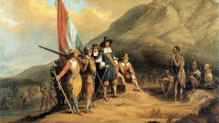 Fragment van Jan van Riebeecks aankomst in Kaap de Goede Hoop, schilderij van Charles Davidson Bell. Beeld .
