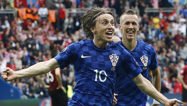 Modric viert zijn treffer tegen Turkije. Beeld epa
