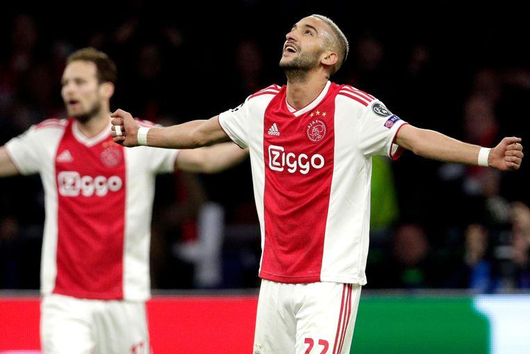 Hakim Ziyech tijdens Ajax - Tottenham Hotspur. Beeld BSR Agency