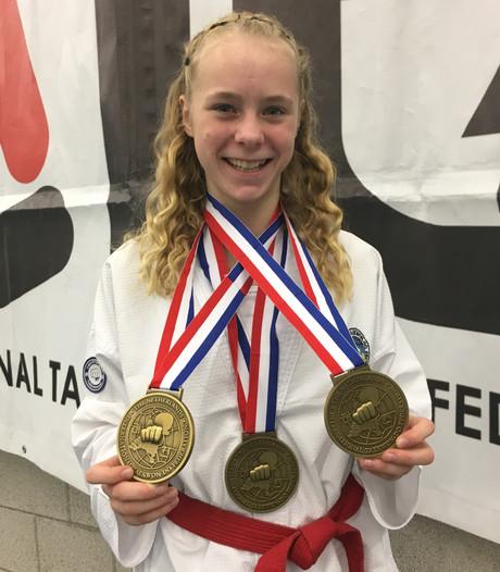 Taekwondoka De Rijke prolongeert drie Nederlandse titels