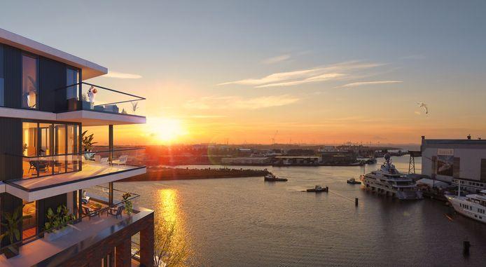 Impressie van het uitzicht dat bewoners van C-Dock straks zouden hebben op de Binnenhaven en de Amelswerf. De zonsondergang is er bijzonder creatief in gemonteerd. Die vindt ook in Vlissingen doorgaans niet zuidoostelijk plaats.