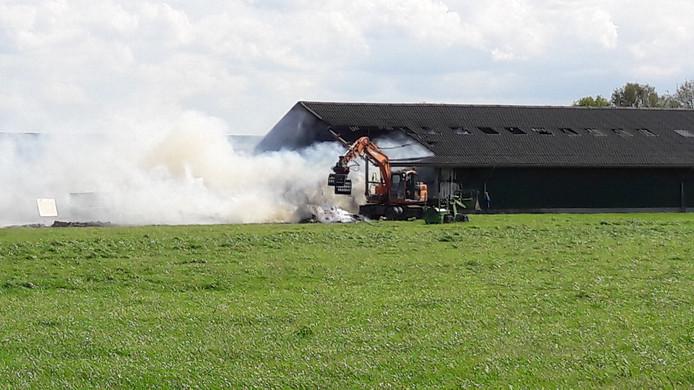 Brand in een geitenschuur in Tilburg.