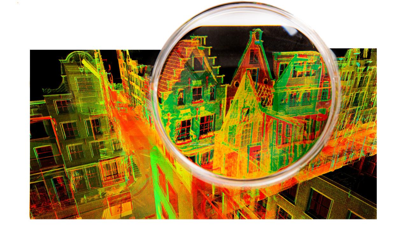 Digitale Laserscan van de Bloemstraat, 4D Research Lab, Universiteit van Amsterdam.   Beeld Stadsarchief Amsterdam - Bewerking Studio V
