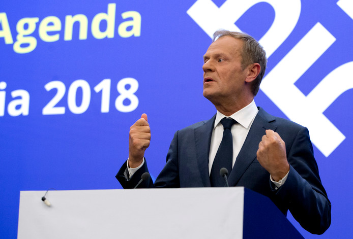Donald Tusk tijdens de top in Sofia.