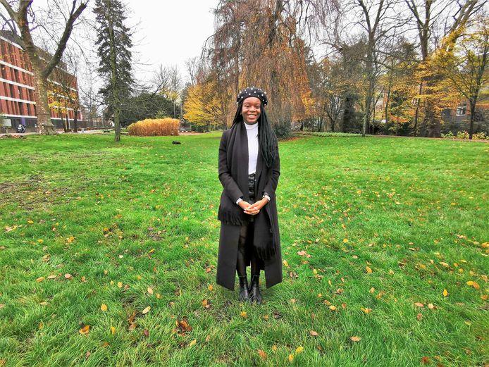 Eunice Yahuma in het stadspark in Halle waar ze in juni tweehonderd mensen verzamelde voor een actie tegen racisme.