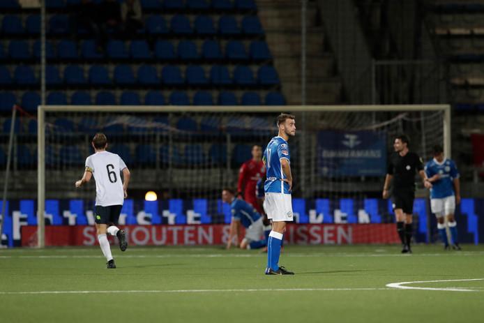 Teleurstelling bij Danny Verbeek nadat Telstart alsnog op voorsprong komt tegen FC Den Bosch.