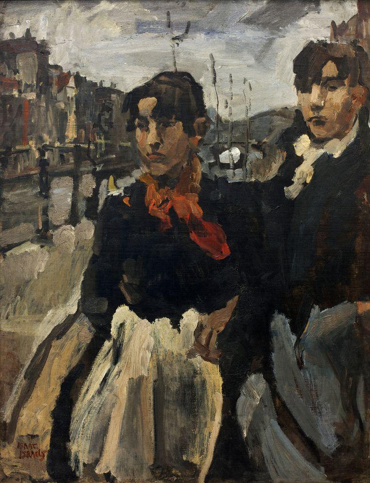 Isaac Israels, Twee meiden op de Lijnbaansgracht in Amsterdam, 1894. Beeld