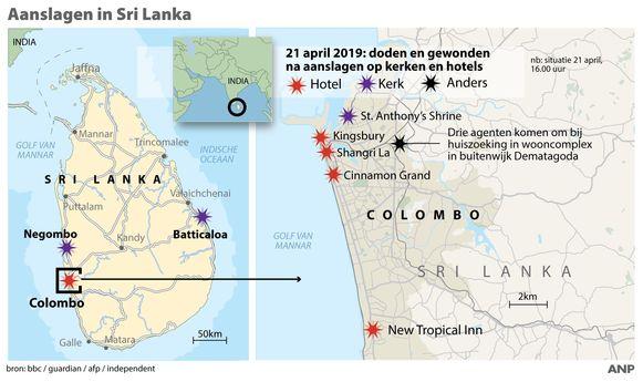 Locaties aanslagen Sri Lanka, met onder andere plaatsbepaling kerk St. Anthony's Shrine in buitenwijk Kochchikade.