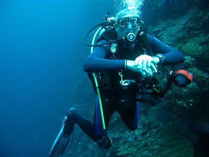Jan Vermeeren tijdens het duiken