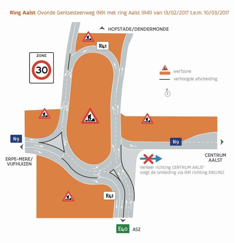 Het kruispunt tussen Boudewijnlaan en Gentsesteenweg wordt omgevormd tot een 'ovonde', een ovale rotonde.