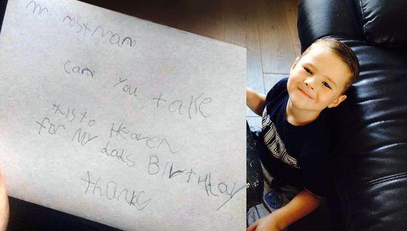 """Jase (7) schreef een kaartje naar papa """"in de hemel""""."""