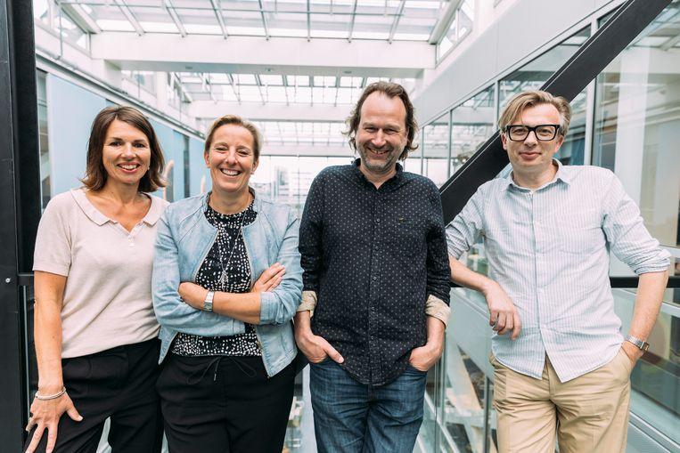 De nieuwe adjunct-hoofdredacteuren van de Volkskrant: Annieke Kranenberg, Marije Randewijk, Alex Burghoorn,  Chris Buur Beeld Rebecca Fertinel