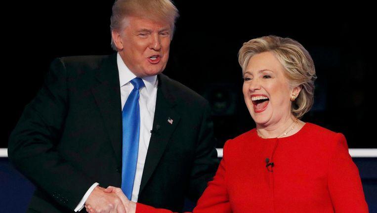 Trump en Hillary tijdens hun eerste tv-debat Beeld Mike Segar / Reuters