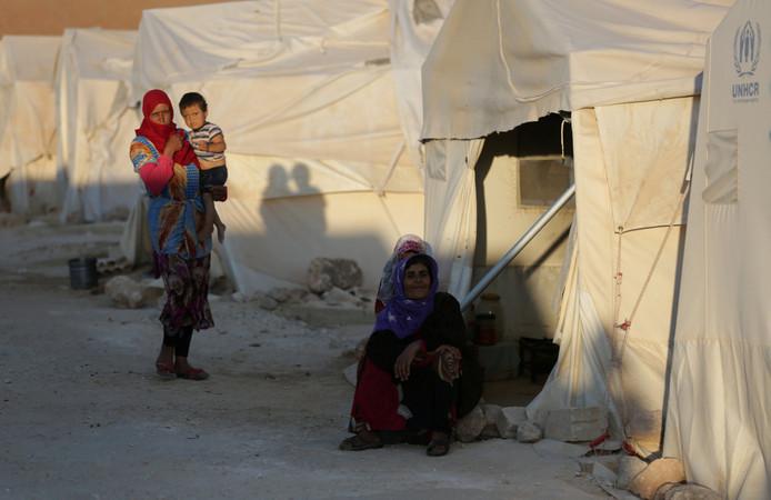 Een tentenkamp in Idlib