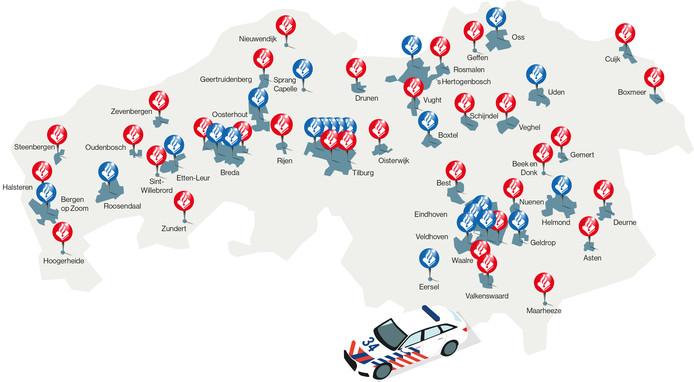 In 2013 telde Brabant nog 56 politiebureaus. In 2019 zijn het er nog maar 23. De blauwe bolletjes laten zien waar nu nog politiebureaus zijn. De rode bolletjes laten de plaatsen zien waar de afgelopen jaar zes jaar het politiebureau verdween. In veel van die plaatsen is wel een politiepost teruggekomen, die vooral gebruikt wordt als uitvalsbasis voor de agenten. Zeven politieposten hebben ook een bezoekersfunctie: Cuijk, Veghel, Schijndel, Drunen, Best, Maarheeze en Valkenswaard.