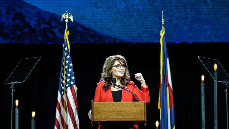Sarah Palin in Denver, Colorado. Beeld afp