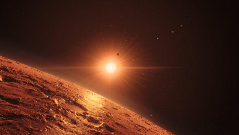 Illustratie van een van de nieuwe planeten Beeld ESO/M. Kornmesser/spaceengine.org