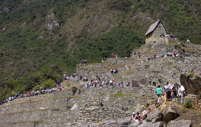 Toeristen staan in een lange rij om een mooi uitkijkpunt te bereiken.