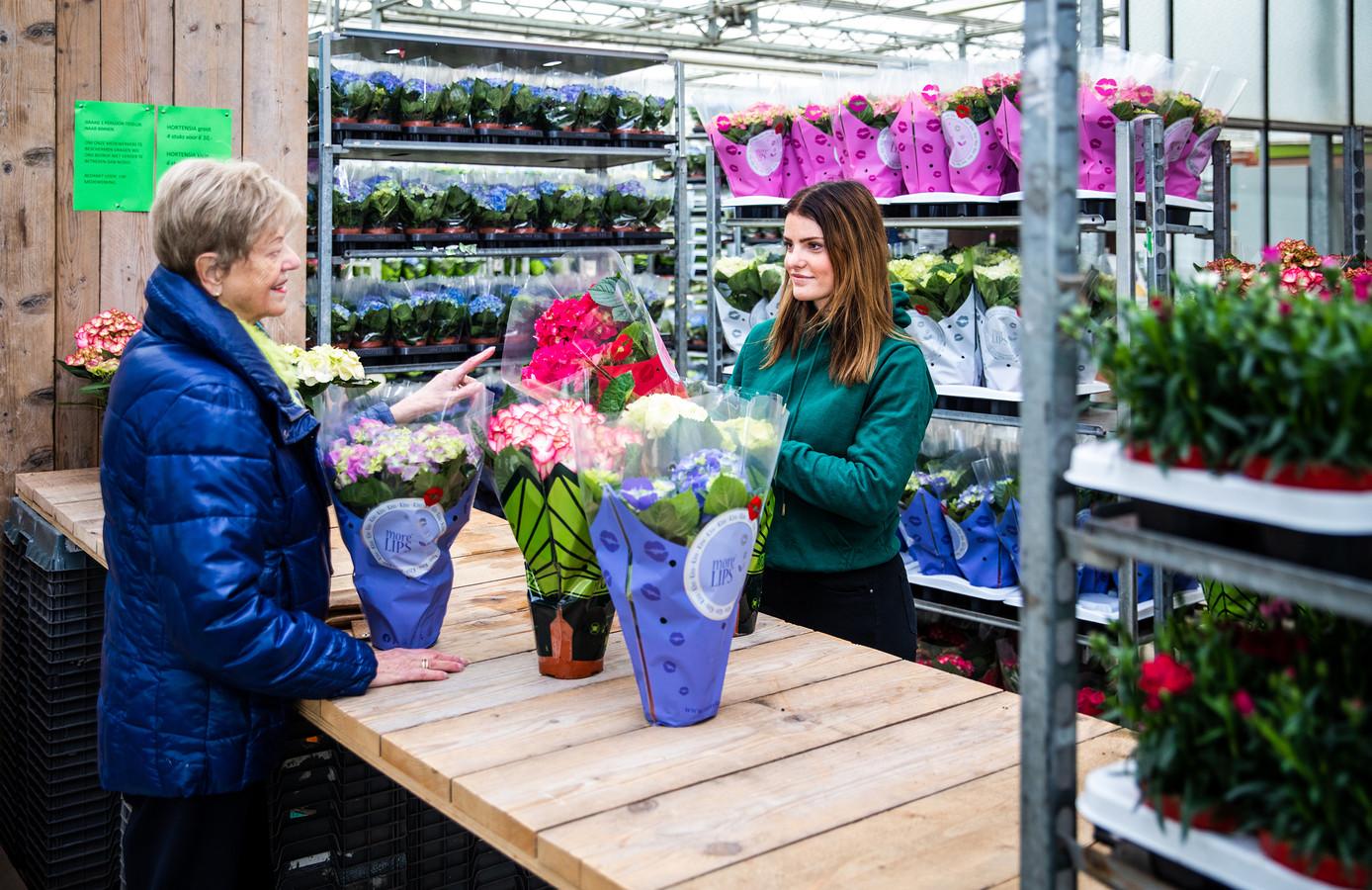 Bij de geïmproviseerde kraam worden nog wat planten verkocht.