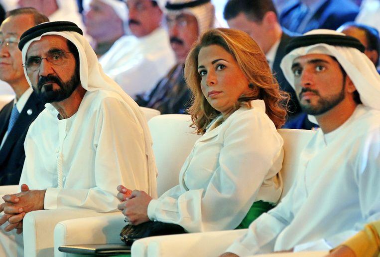 Prinses Haya heeft dinsdag in de familiekamer van de High Court in Londen zelf de eerste hoorzitting bijgewoond in het geschil dat ze heeft met haar echtgenoot, de emir van Dubai, sjeik Mohammed. Beeld EPA