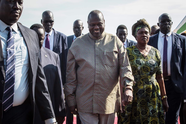 De Zuid-Soedanese vice-president Riek Machar is besmet met het coronavirus.  Beeld AFP