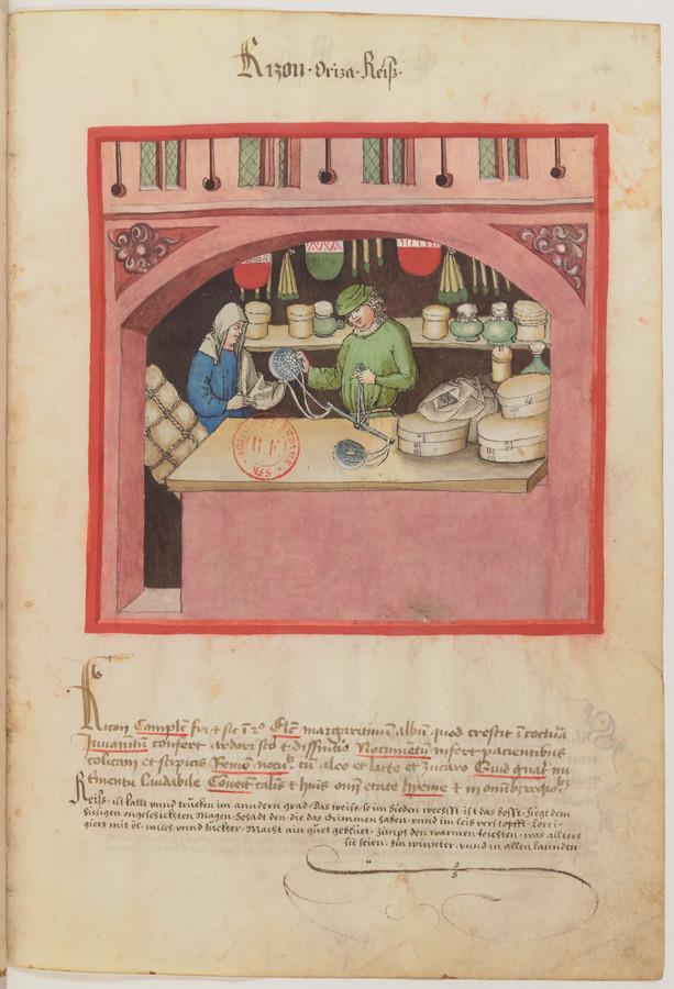 Rijst verbouwde je niet maar kocht je in een winkel- volgens deze prent in een manuscript uit de Biblio-thèque nationale in Parijs.