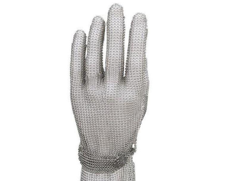 Een oesterhandschoen beschermt de hand bij het openmaken. Beeld