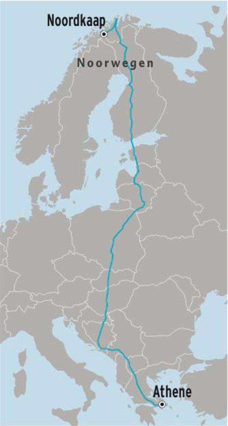 Thomas fietst in totaal 6.500 kilometer.