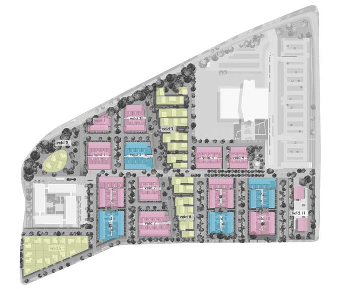 Een overzichtskaartje van de wijk Vredeoord in Eindhoven. De blauwe blokken zijn de 62 koopwoningen, de roze de 189 sociale huurwoningen met rechts aan de Boschdijk het appartementencomplex met gezondheidscentrum. De lichtgroene blokken zijn de cpo-woningen. In het midden zijn de kavels al uitgegeven; over de twee blokken links denkt Sint Trudo nog na. Onder is de Pieter Zeemanstraat, boven de Vredeoord.