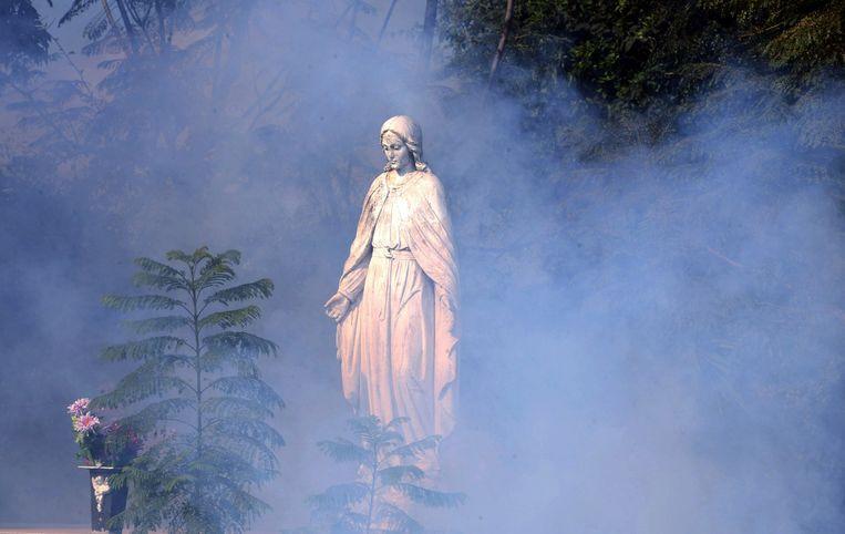 Wolken insecticide rond een heiligenbeeld in Honduras. Beeld afp