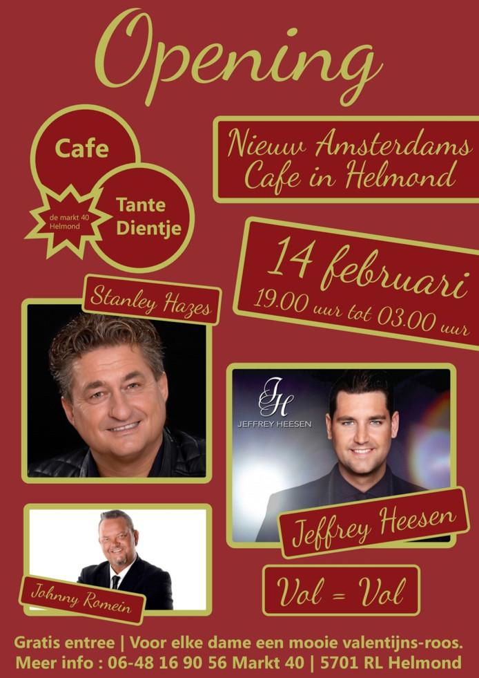 Poster van het openingsfeest van café Tante Dientje.
