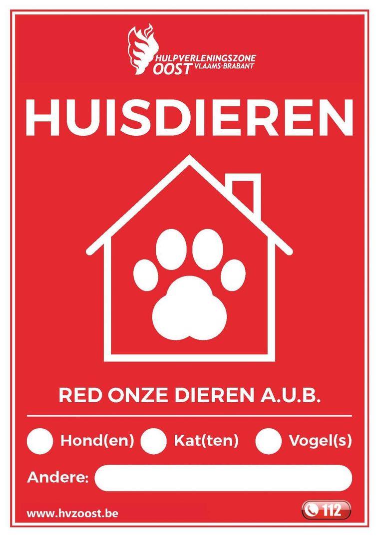 Op de sticker van hulpverleningszone Oost kan je het aantal huisdieren invullen.