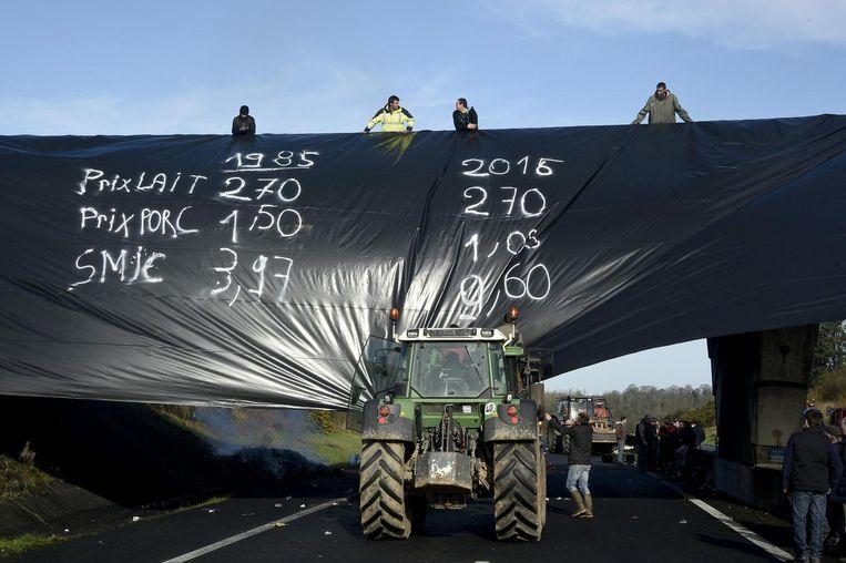 Franse boeren protesteren tegen lage prijzen en crisis in de agrarische sector. Beeld AFP