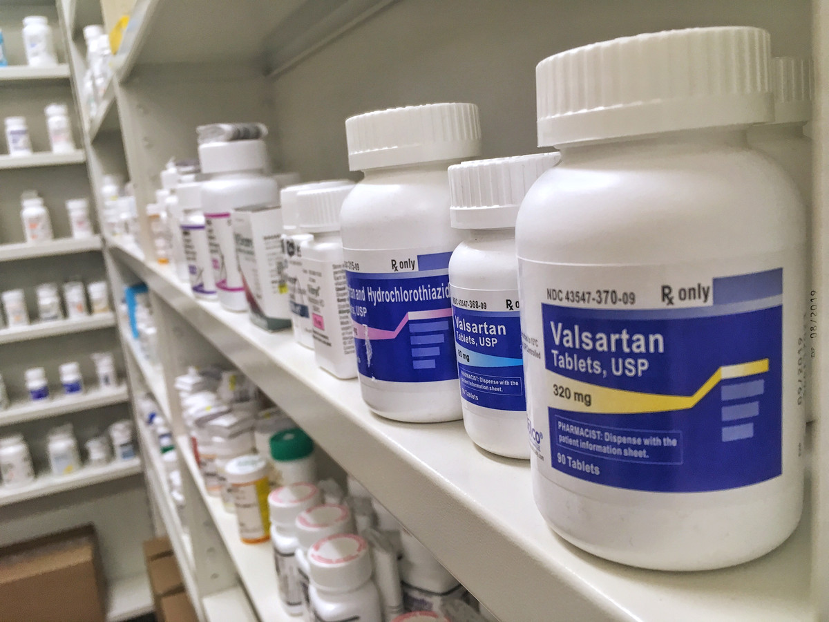Valsartan-tabletten in een apotheek.