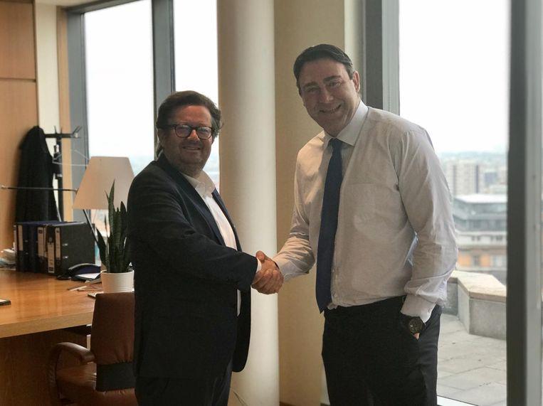 Marc Coucke met minister Ducarme.